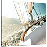 Sailboats Pictures Seascape Arts Paintings: Yacht Against The Roaring Waves of The Ocean at Sunrise, Nautical & Sea…