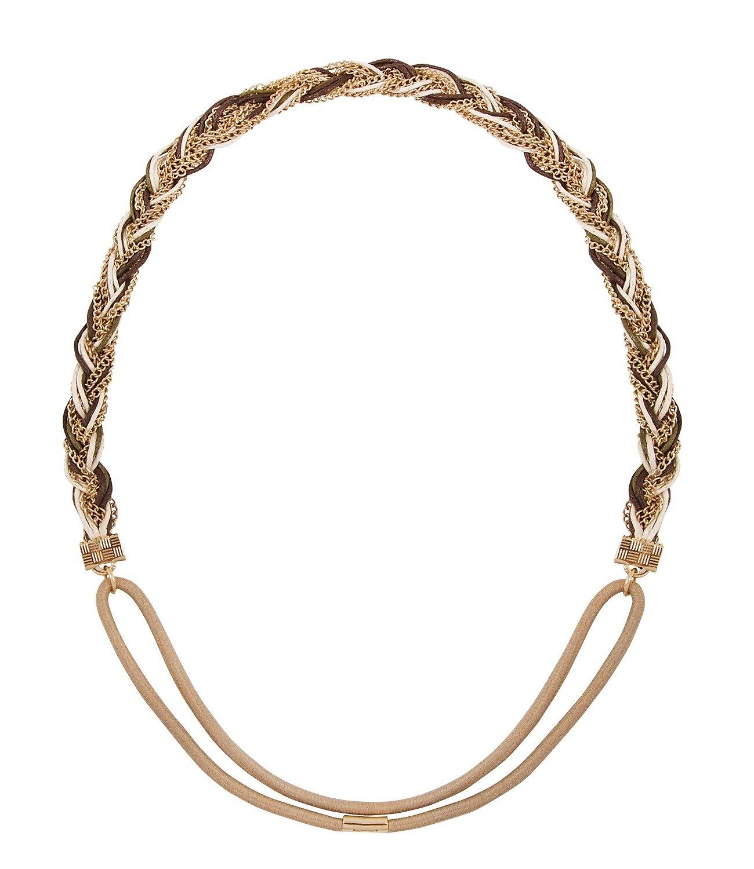 SIX Festival elastisches Haarband Kopfband mit geflochtener Kette in Gold Indianer Kostüm (252-968)