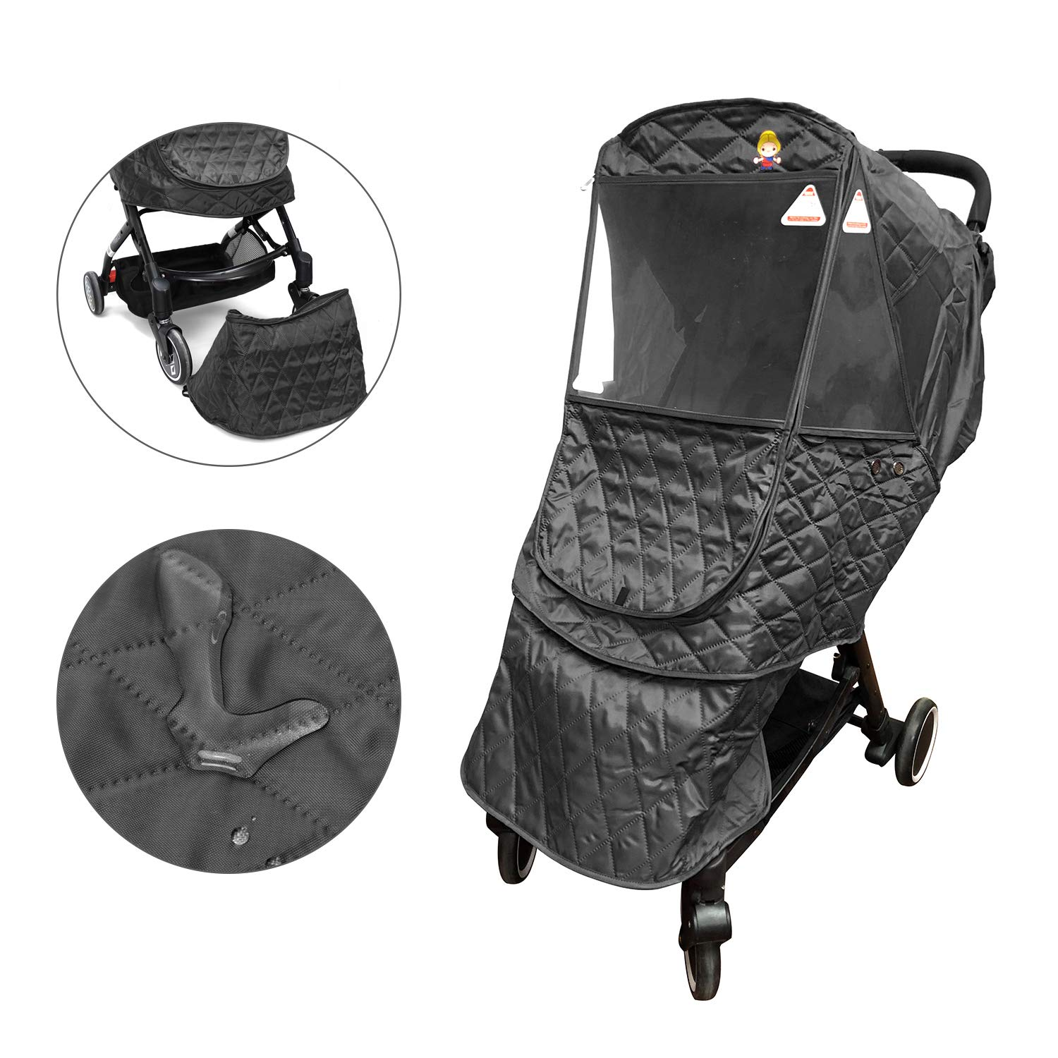 Wonder buggy Universal Stroller Weather Shield Rain Cover, Waterproof Snow Cover, Cotton Warm Protection, Travel-Friendly, Outdoor Use, Easy to Install and Remove, Black