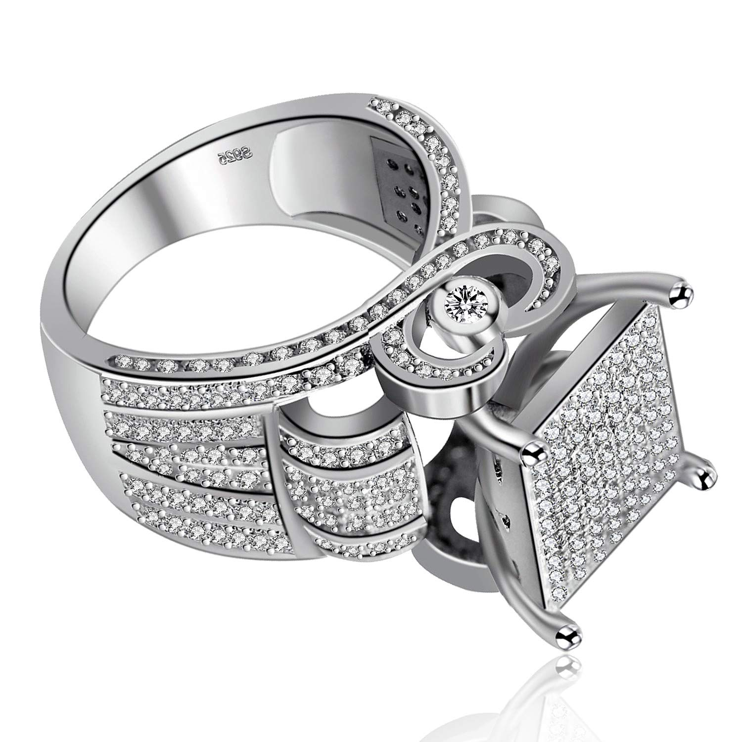 RA0221 Bridal Fashion Jewelry Stores Uloveido Womens 0.4 Wide Square Cluster Engagement Love Heart Architecture Ring Platinum Plated Size 6 7 8 9 10 11
