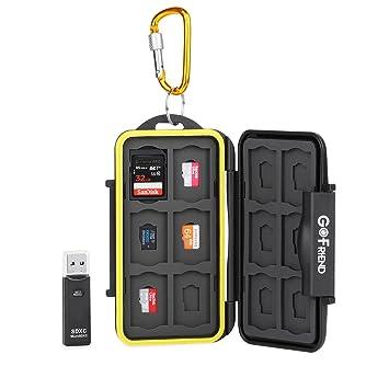 Gofriend - Funda de transporte para Tarjetas de memoria, impermeable, profesional, Protector de viaje para SD, SDHC, SDXC, con mosquetón y lector de ...