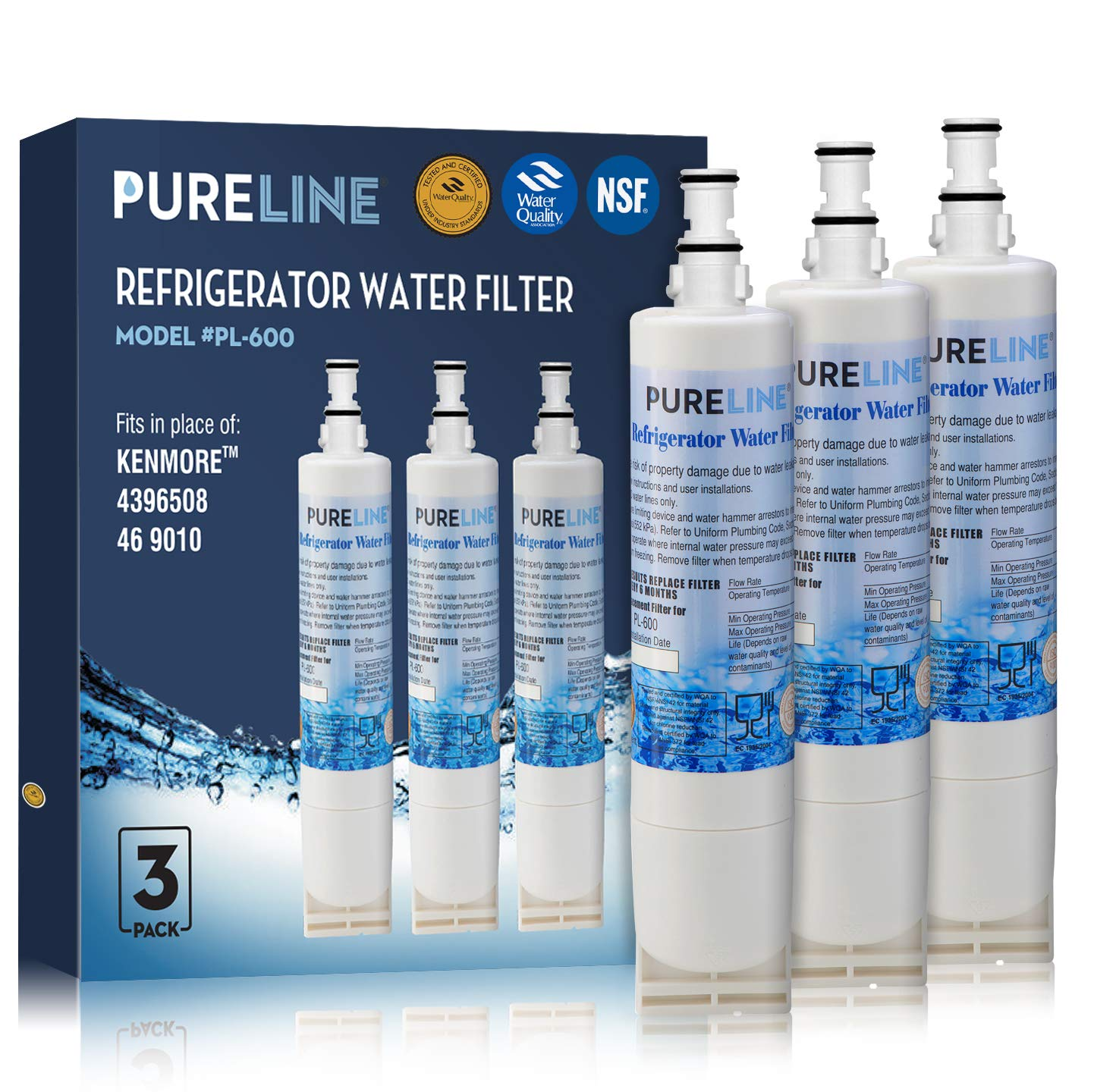 Pure Line Water Filter, Compatible with 4396510 W10186668 NLC240V, 4396510, WF285, 4392857 4396163 4396547 8212491 46-9010 46-9902 46-9908 models (3 Pack)