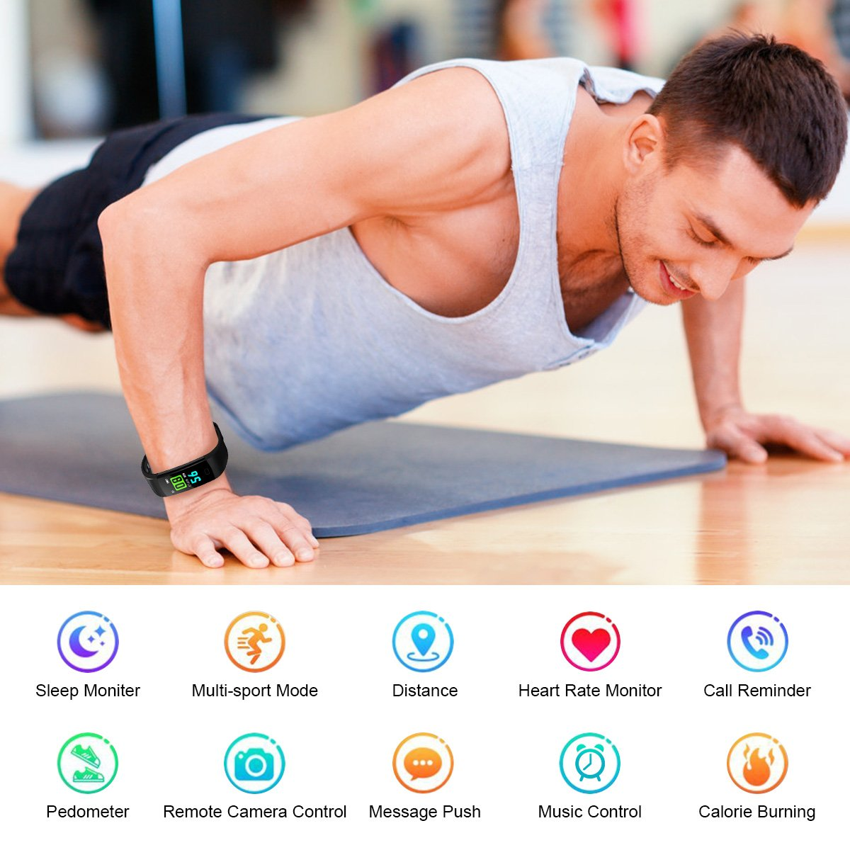 Hizek Montre Connectée, Bracelet Connecté Podometre Sport Smartwatch Fitness Tracker d\'Activité avec Cardiofréquencemètre Poignet Moniteur de Sommeil Femme Homme Pour iPhone Huawei Samsung Xiaomi - Noir