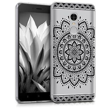 kwmobile Funda compatible con Xiaomi Redmi Note 4 / Note 4X - Carcasa de TPU con diseño de flor azteca en negro / transparente
