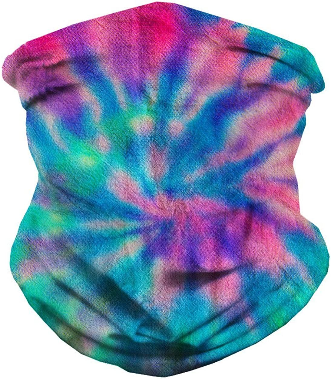 iHeartRaves Spiral Tie Dye Multi-Functional Face Cover Seamless Bandana: Clothing