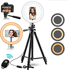 "10"" Selfie Ring Light with Adjustable Tripod Stand & Phone Holder - Upgrade Dimmable LED Beauty Camera Ringlight for Photography/Makeup/Vlogging/Live Streaming, Compatible with Phones and"
