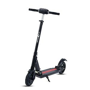 UrbanRun - Patinete eléctrico dos ruedas, plegable y ligero con luz LED frontal, pantalla LCD, motor 350W, velocidad hasta 35Km/h. Diseño clásico-moderno de color negro. Ideal para paseos urbanos.