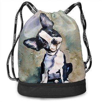 5e79b49b73 Brady Johnson Boston Terrier Waterproof Gym Sackpack, Drawstring Bag, Dry  Wet Separated, Lightweight
