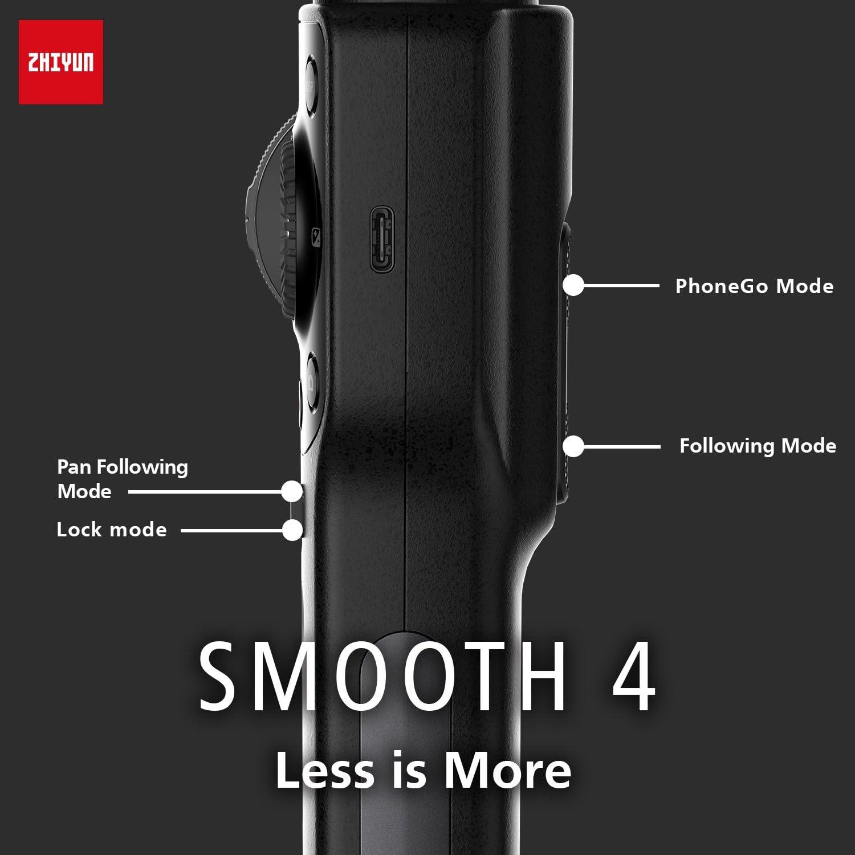 La /úLtima Versi/óN Negro Samsung zhiyun Smooth 4 Estabilizador Port/áTil De 3 Ejes para Tel/éFono Inteligente Viene con iPhone Huawei .GoPro Hero 6//5//4//3