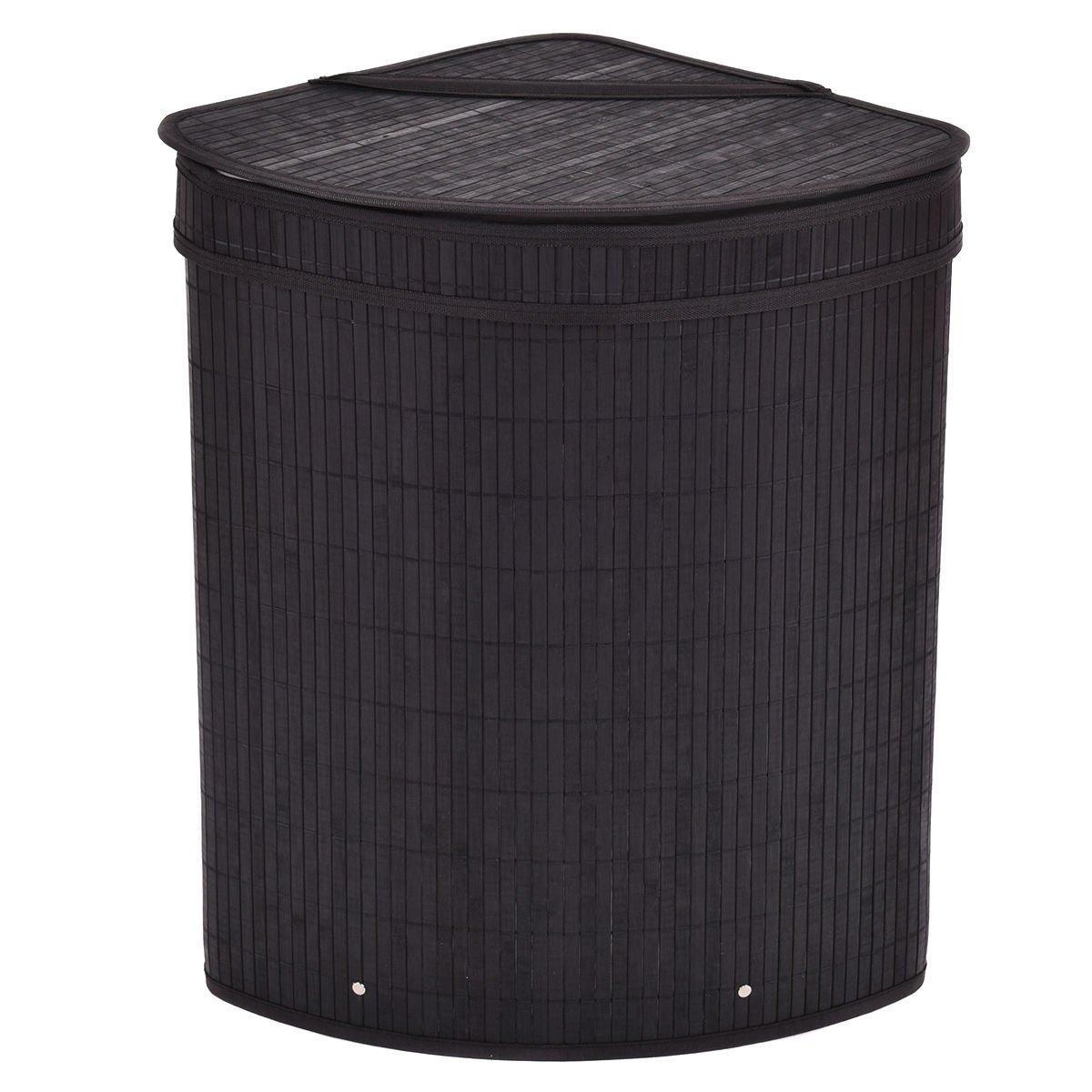 Bamboo Hamper Triangle Laundry Basket Washing Cloth Storage Bin Bag With Lid