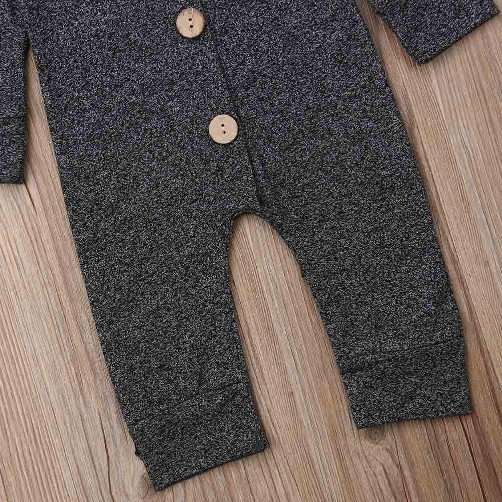 YHLZBNH Newborn Baby Girl Boy Button Up Romper Long Sleeve Pant Outfits Coveralls Baby Soild Color Clothes