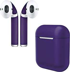 AirPod Skins & Silicone Charging Case Cover | Easy Install | Customize and Protect | Free Lifetime Replacements | Max Coverage | Apple AirPods Accessories (Purple Case & Skin)