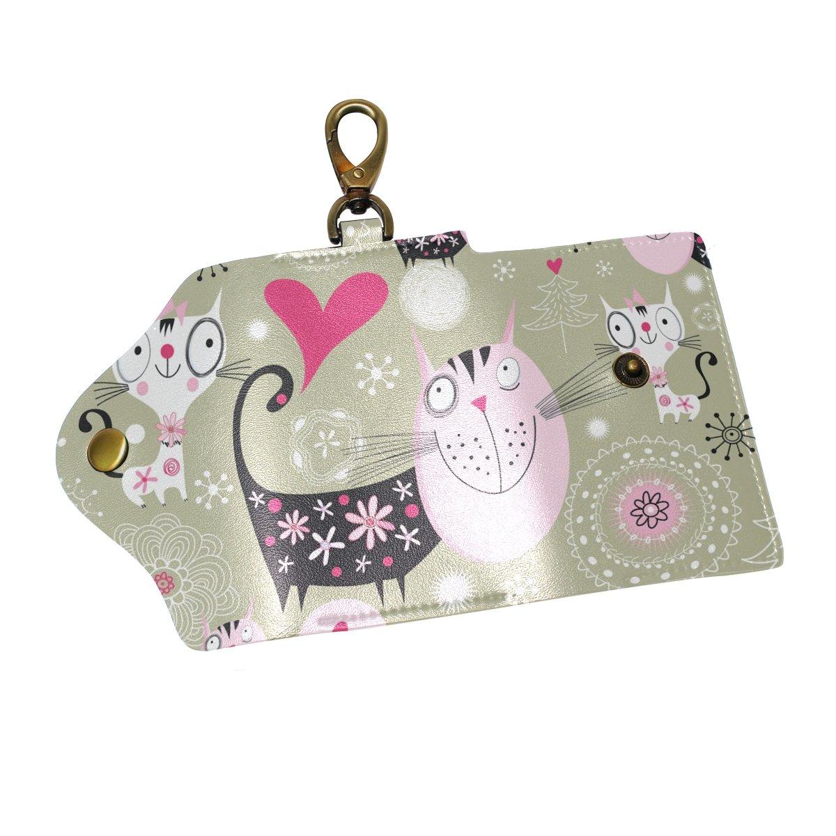 DEYYA Cute Cats Colorful Leather Key Case Wallets Unisex Keychain Key Holder with 6 Hooks Snap Closure