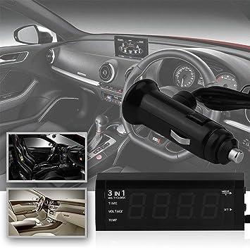 Termómetro Digital para Coche 3 en 1 de 12 V/24 V + voltímetro de Coche, medidor de Voltaje, Monitor + Reloj de Pantalla LCD: Amazon.es: Coche y moto