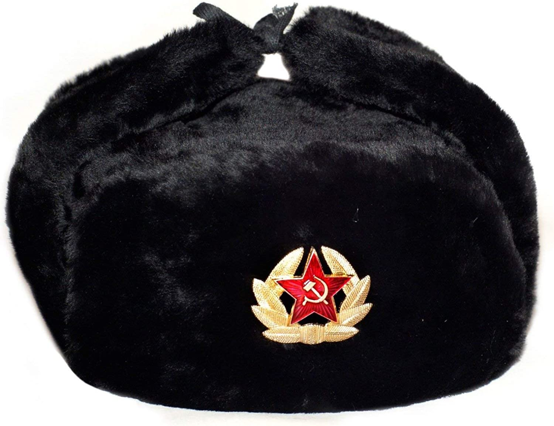 ARTIMS LTD Russian Hat Soviet Army Black KGB Fur Military Cossack Ushanka! USSR Badge!
