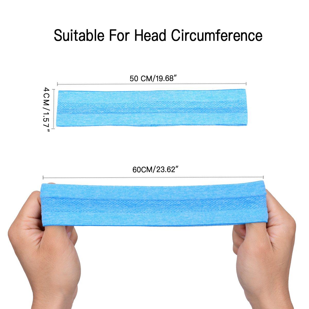 HopMore Sport Headband for Women Men Elastic Head Band Sweatband Headwear