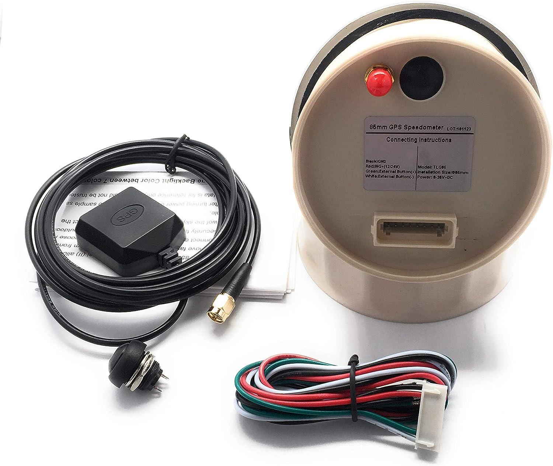 ELING Boat Car Digital GPS Veloc/ímetro Medidor de velocidad Od/ómetro Curso con antena GPS 3 3//8 pulgadas 9-32V 85mm