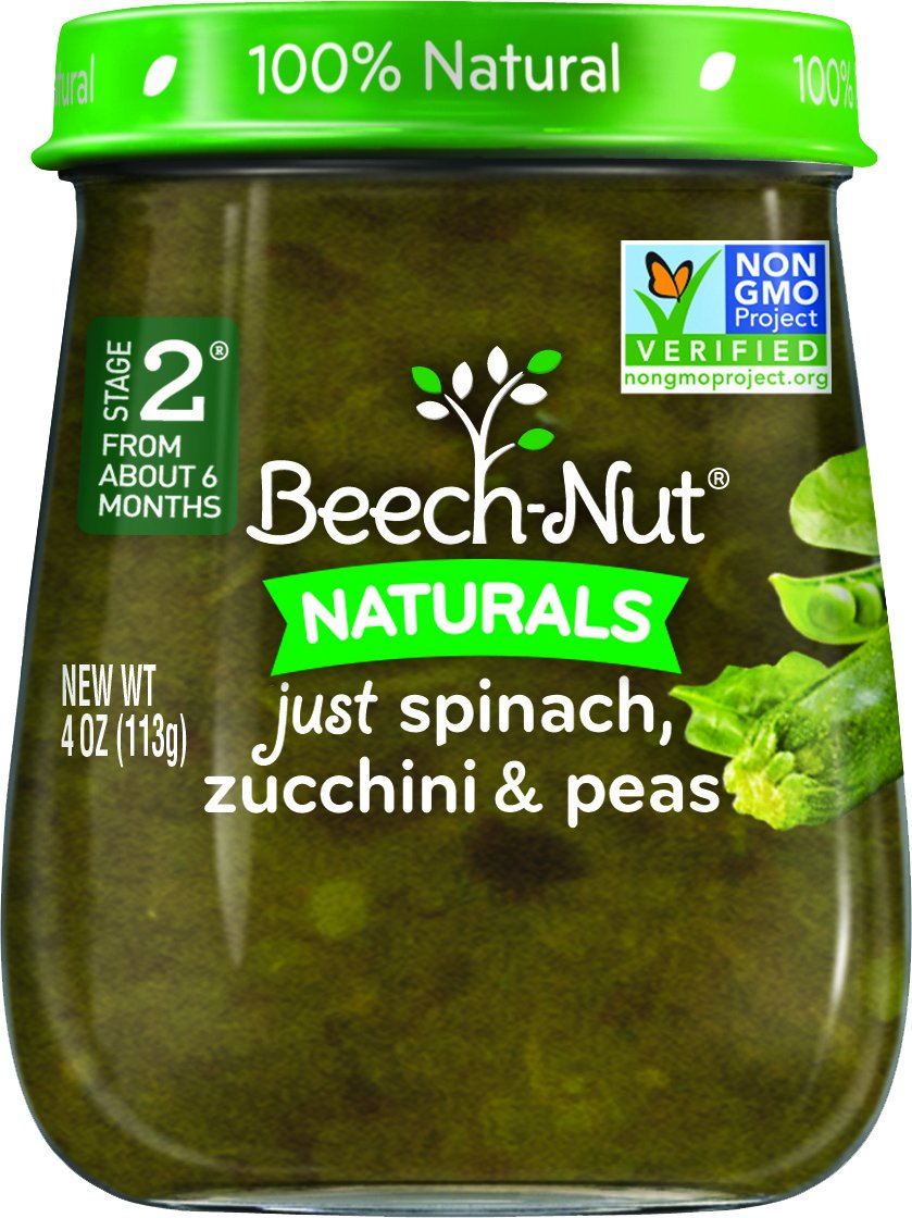 Beech-Nut Stage 2 Baby Food, Spinach/Zucchini/Peas, 4 Ounce (Pack of 10)