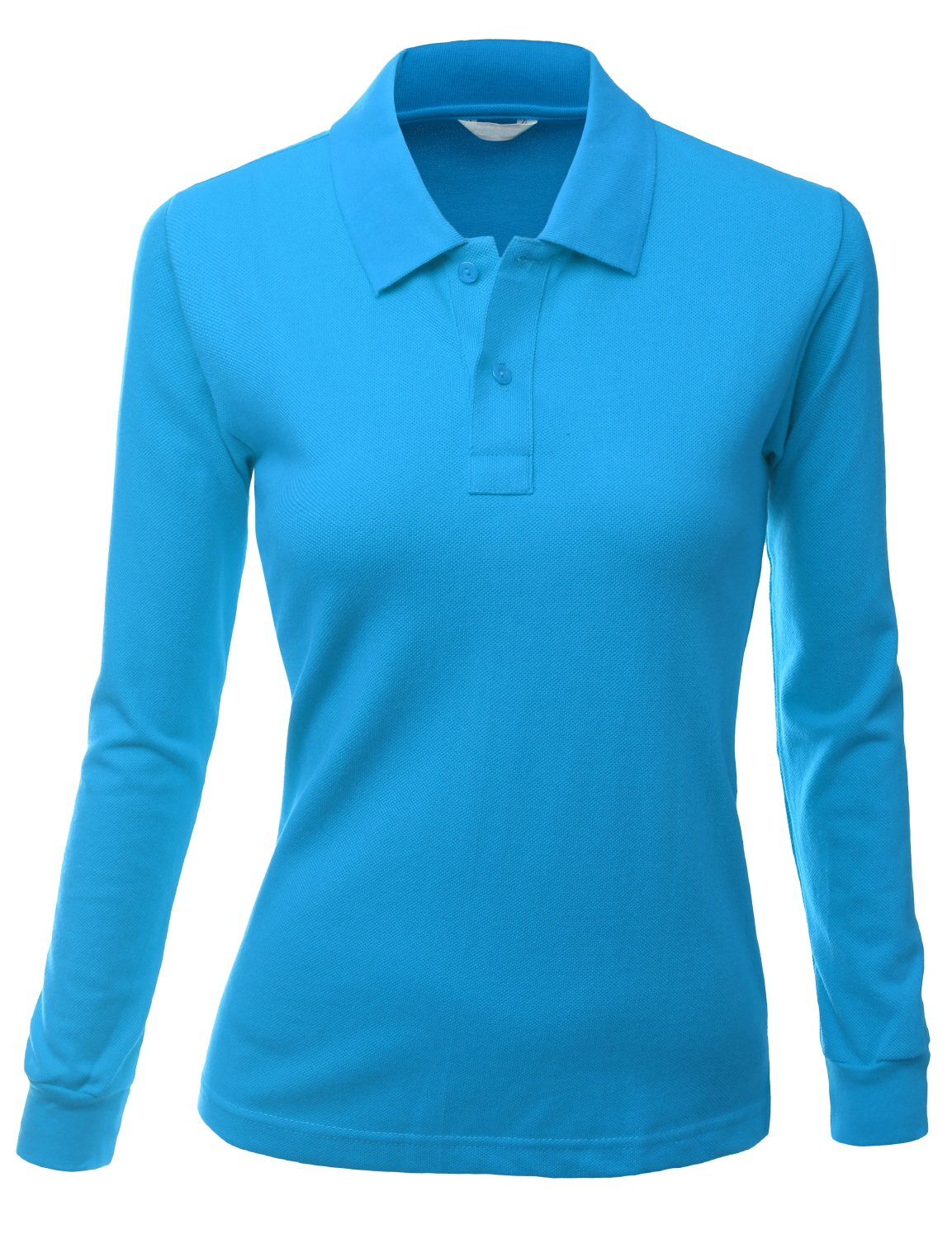 Luxurious Solid Long Sleeves PK Polo Shirt Blue Size S by Xpril