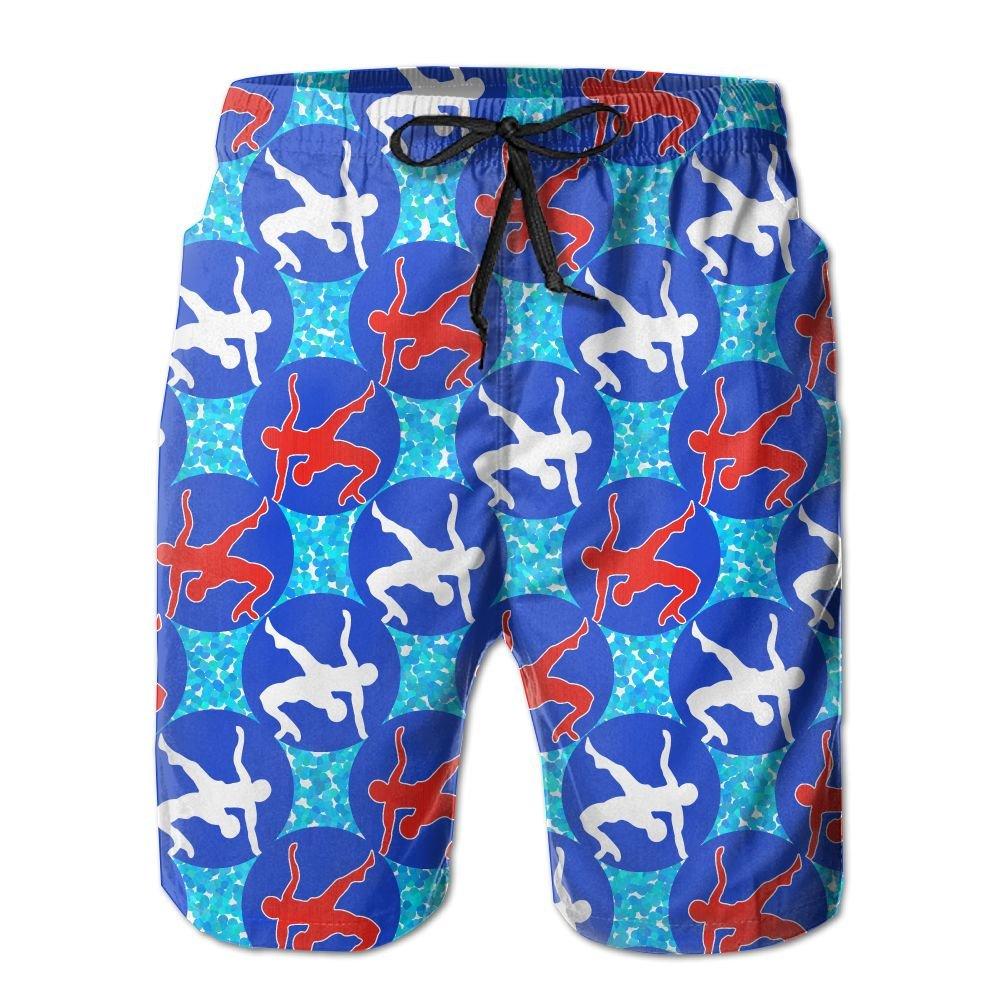 USA Wrestling Logo Long Mens Boardshorts Swim Trunks Tropical Beach Board Shorts Surf Trunks