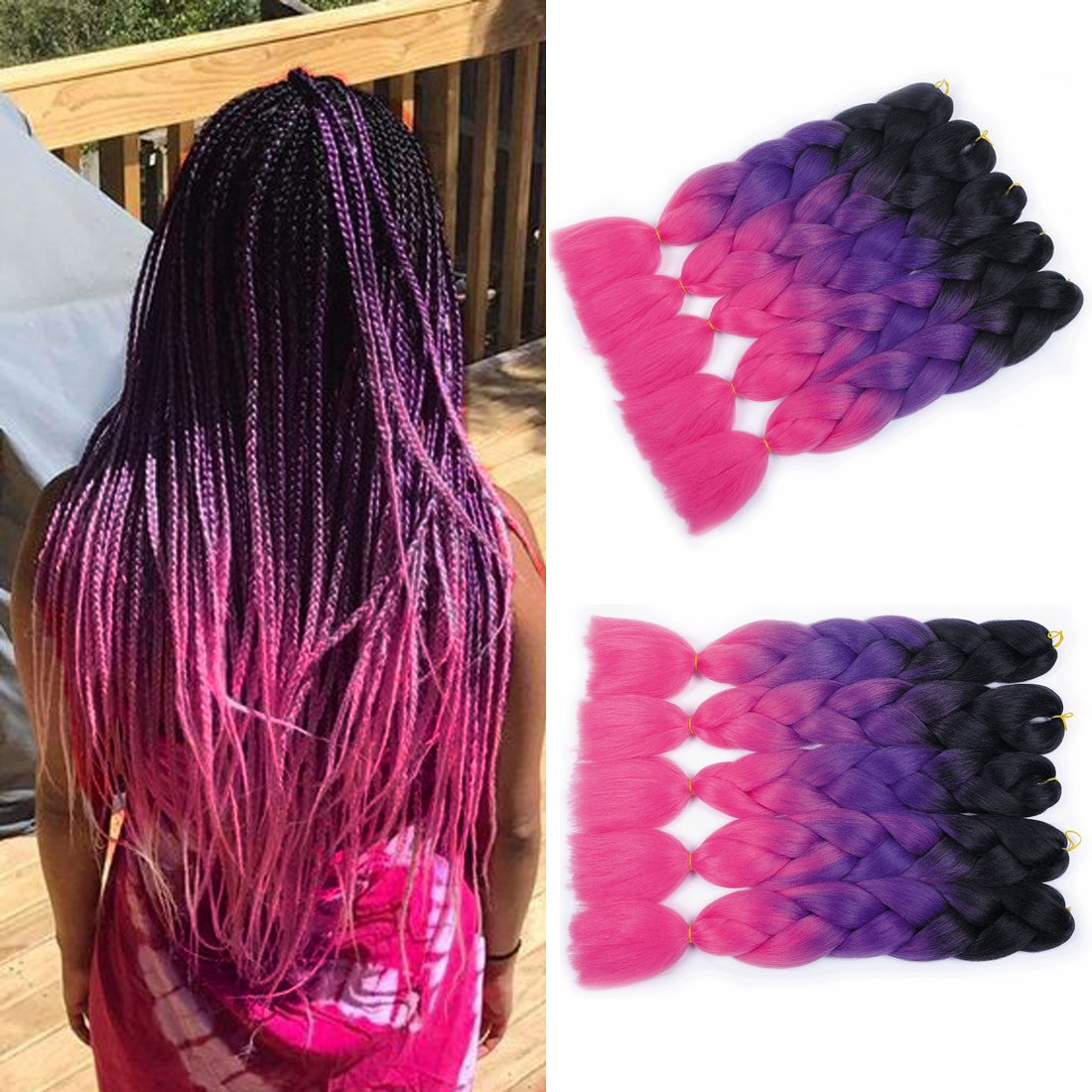 MSHAIR Ombre Jumbo Braiding Hair Extension Synthetic Kanekalon Fiber for Twist Braiding Hair Black/Purple/Hot Pink Color 24 Inch 5 Pieces/lot