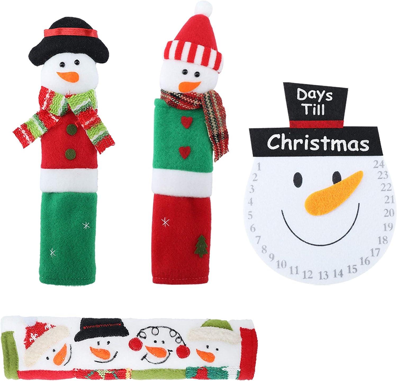 3Pcs Christmas Snowmen Refrigerator Handle Covers Set Fridge Microwave Oven Door Protector Stripe Xmas Kitchen Decorations, Red/White