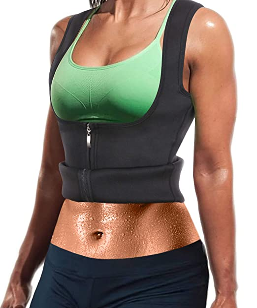 9303fb160ce Women Hot Sweat Neoprene Weight Loss Tank Top Shirt Waist Trainer Vest  Zipper Corset Body Shaper Cincher Training Workout  Amazon.co.uk  Clothing