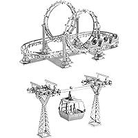 Motu 2pcs 3D Metal Nano Puzzle Roller Coaster + Cable Car Model Kits DIY 3D Laser Cut Assemble Jigsaw Toys for Audit