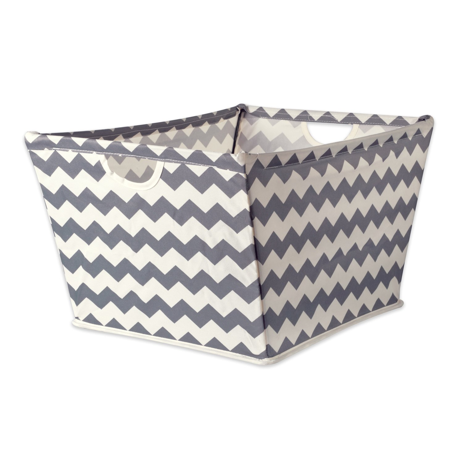DII Collapsible Polyester Trapezoid Storage Basket, Home Organizational Solution for Office, Bedroom, Closet, & Toys (X-Large - 22x15x13'') Gray Chevron by DII