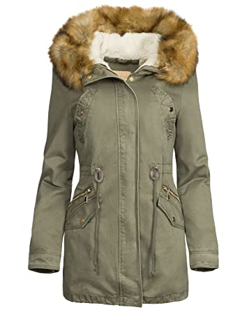new concept 4cc7a fd8a2 S'West 3 in 1 Damen Winterjacke Baumwolle Teddy Fell Military Style Cotton  Parka Mantel