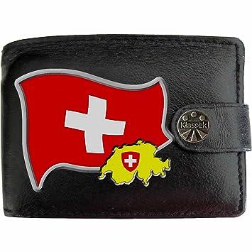 731aa684efa11 Schweiz Flagge KLASSEK Herren Geldbörse Portemonnaie Brieftasche Schweizer  Wappen aus echtem Leder schwarz Schweiz Geschenk Präsent
