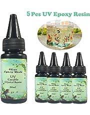 Frenshion 5 Unidades 30 ML de Cristal de Resina Epoxi Pegamento UV Nail Art Tools Para DIY Inicio Artesanía Profesional Joyería Pendientes Collar Pulsera Accesorios de Arte Nail