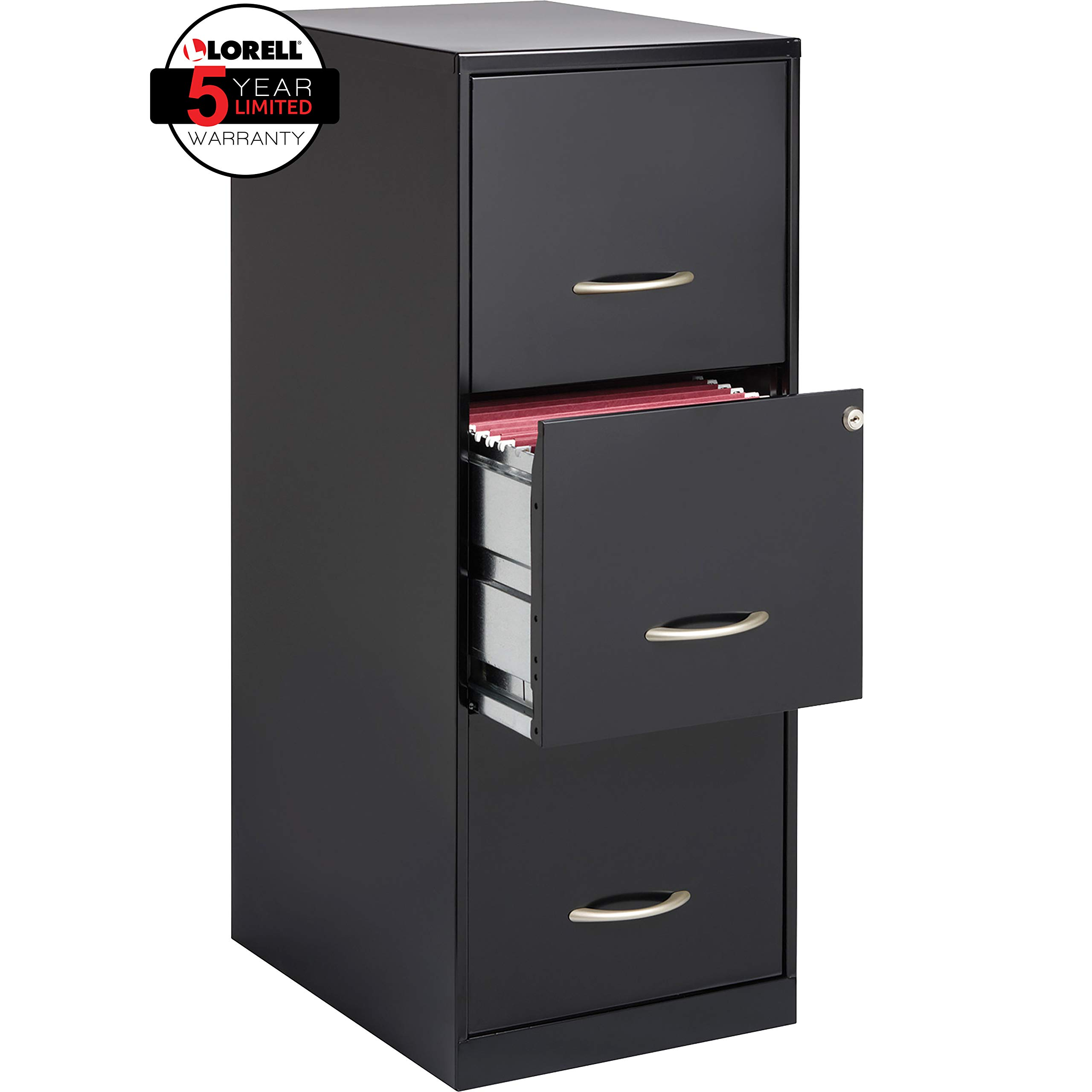 Lorell SOHO 18''D 3-Drawer Letter-Size Vertical File Cabinet, Black by Lorell