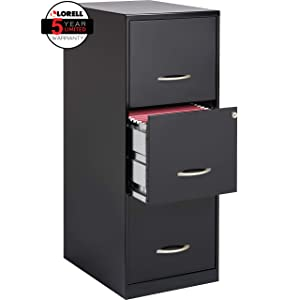 "Lorell SOHO 18""D 3-Drawer Letter-Size Vertical File Cabinet, Black"