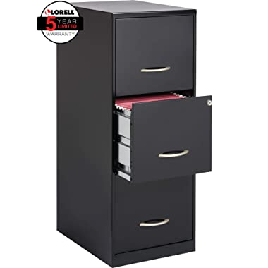 Lorell SOHO 18 D 3-Drawer Letter-Size Vertical File Cabinet, Black