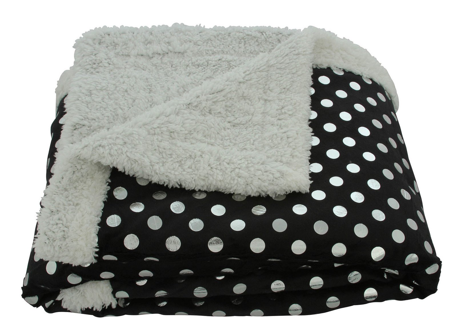 Sweet Home Collection Silver Dots Sherpa Reversible Poly Faux Lamb's Wool Throw Blanket, Black, 50'' x 60''