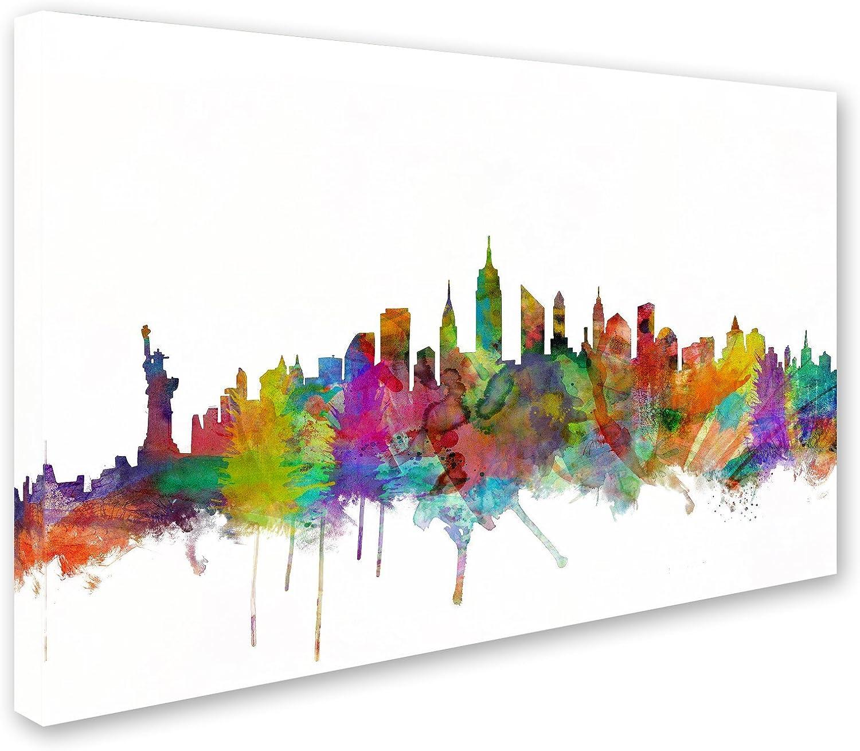 Amazon Com New York City Skyline By Michael Tompsett 16x24 Inch Canvas Wall Art Posters Prints