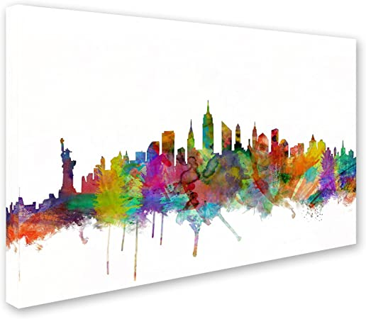 New York City Skyline By Michael Tompsett 16x24 Inch Canvas Wall Art Posters Prints Amazon Com