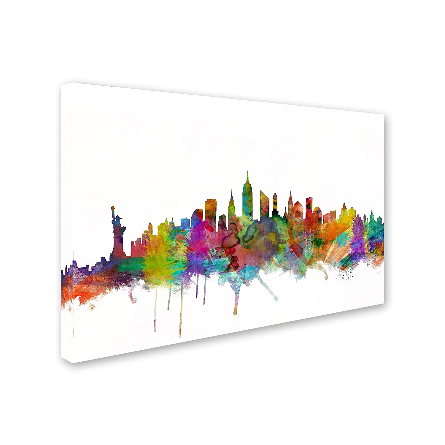 New York City Skyline by Michael Tompsett, 12×19-Inch Canvas Wall Art