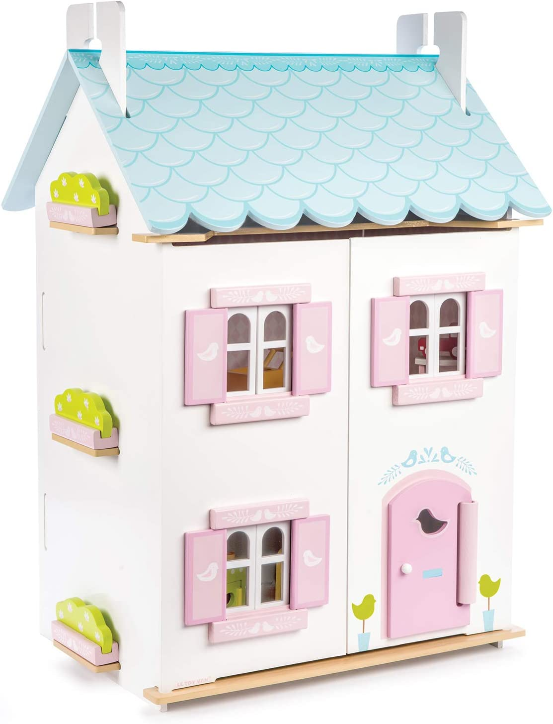Le Toy Van - Gorgeous Wooden Bluebird Dolls House & Furniture Large Wooden Doll House | Girls 3 Storey Wooden Dolls House Play Set | Suitable for Ages 3+
