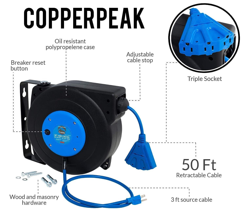 Copperpeak 50 Ft Retractable Extension Cord Reel Ceiling Or Wall W Circuit Breaker Mount 14 Gauge Blue And Black