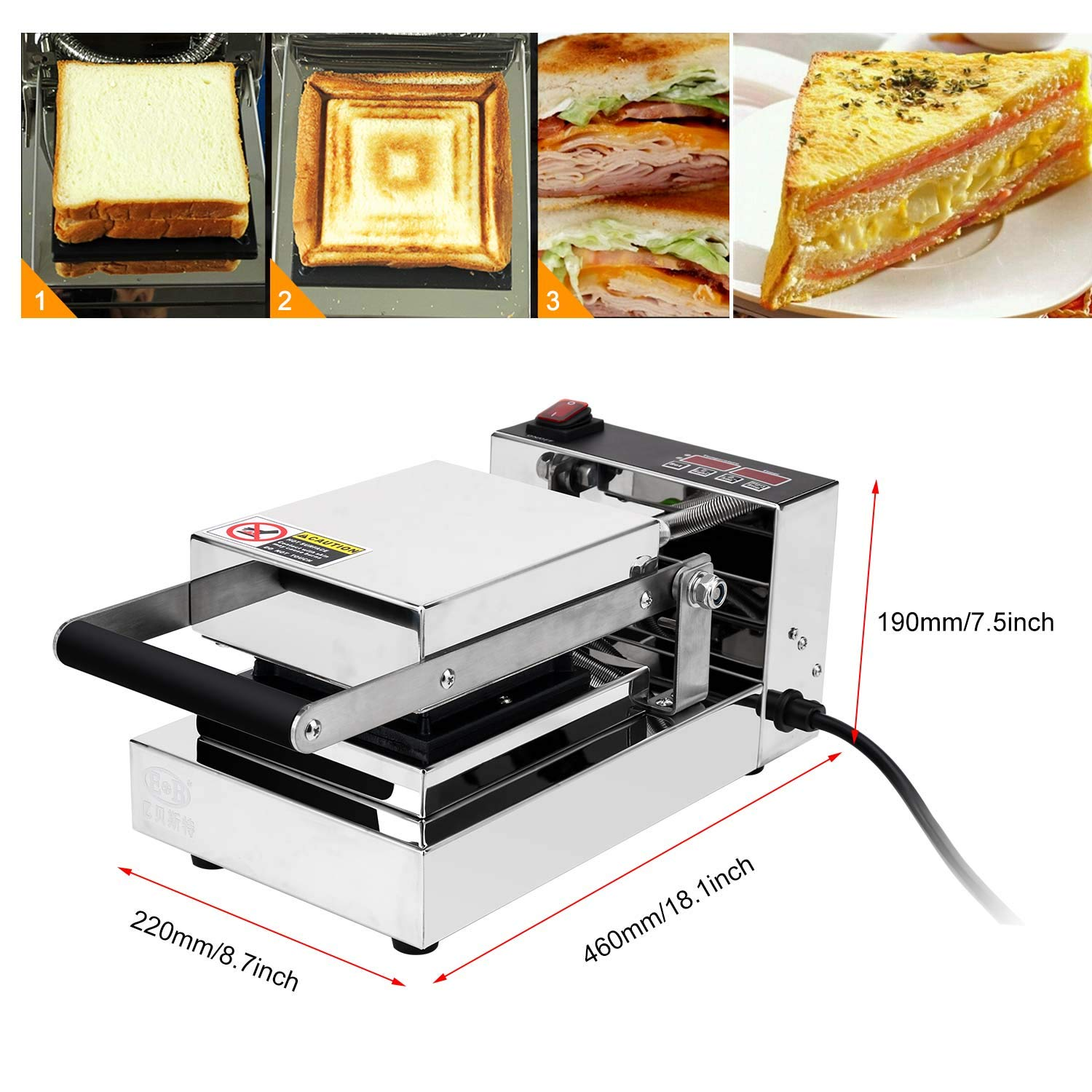 Temp 0-299 ℃ Double-Sided Heating Stainless Steel Multifunctional Nonstick Bread Toaster 50Hz Detachable Plate with Sealing System Sandwich Press IDABAY Sandwich Maker 600W