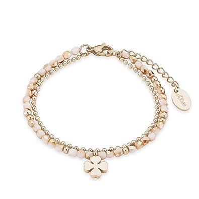 s oliver damen armband mit kleeblatt anhänger edelstahl ip rose beschichtung glassteine apricot  herren schmuck ohrringe c 82_87 #3