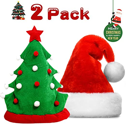 e5c2d945 Christmas Tree Hats 2 Pcs Plush Christmas Party Kit Red Green Santa Hat  Xmas Ugly Sweater Theme Party Decorations