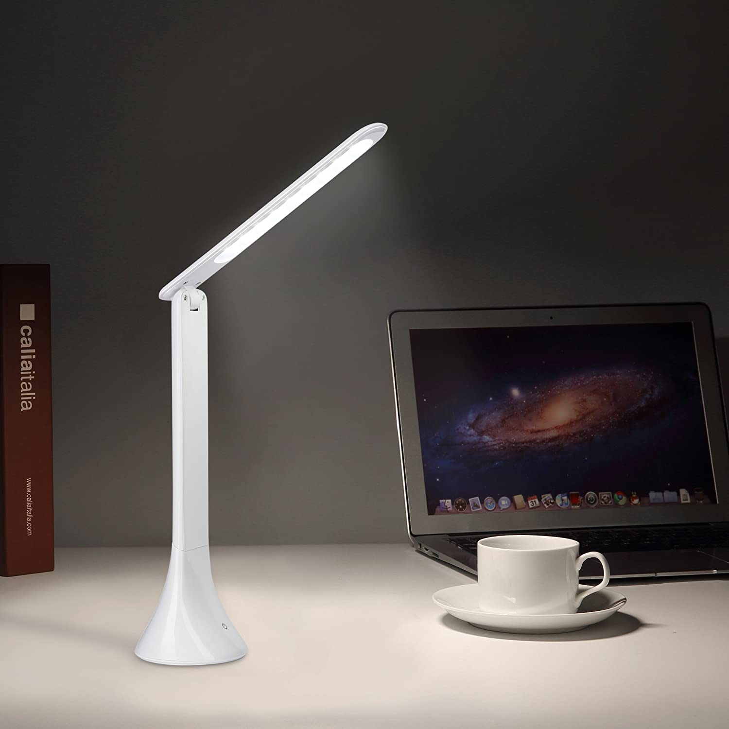 3-Level Reading Lamp ICOCO Dimmable Eye-caring Table Lamp with Touch Control White Portable LED Desk Lamp Mood Light with USB Cable
