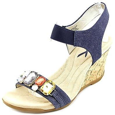 For Sale Designer Womens Sandals Anne Klein Larow Medium Blue/Medium Blue Fabric
