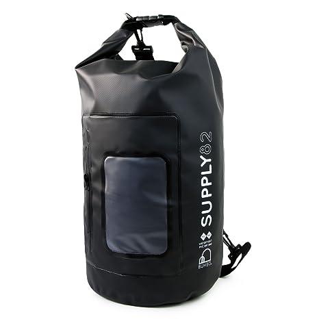 Buhbo 15 Liter Supply82 Waterproof Dry Bag with Clear Window Pocket (Black)  Best Stuff 331692ddbb665