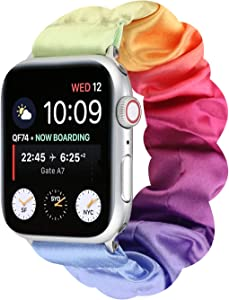 OnederHome Scrunchie Elastic Compatible for Apple Watch Band Women Girls Cloth Hair Band Strap Bracelet for iwatch Series SE 6 5 4 3 2 1 (Rainbow, 38/40mm for Small Wrist)