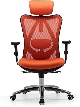 Sihoo Ergonomic Office Chair Computer Desk Chair Adjustable Headrest Backrest And Armrests Lower Back Support Mesh Orange Amazon Co Uk Kitchen Home