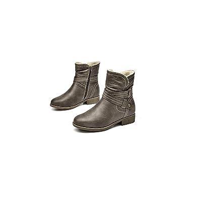 katliu Womens Slouchy Mid Calf Boots Zip up Flat Boots